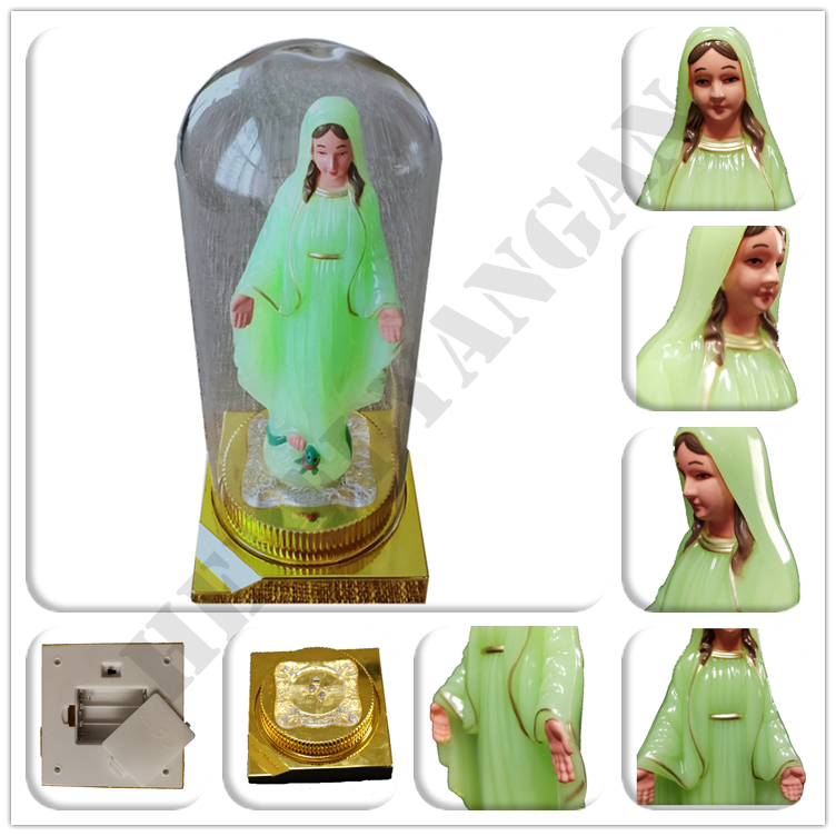 Wholesale Christian Plastic Statue Virgin Mary with LED sculpture