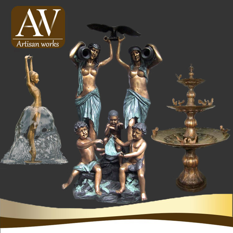 Outdoor decoration bronze mermaid water fountain sculpture for sale