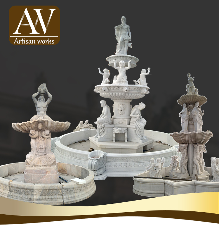 Good quality modern stone water outdoor fountain with fish shape