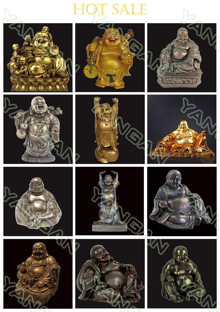 Religious  casting life size bronze gold sculpture  laughing Buddha statues